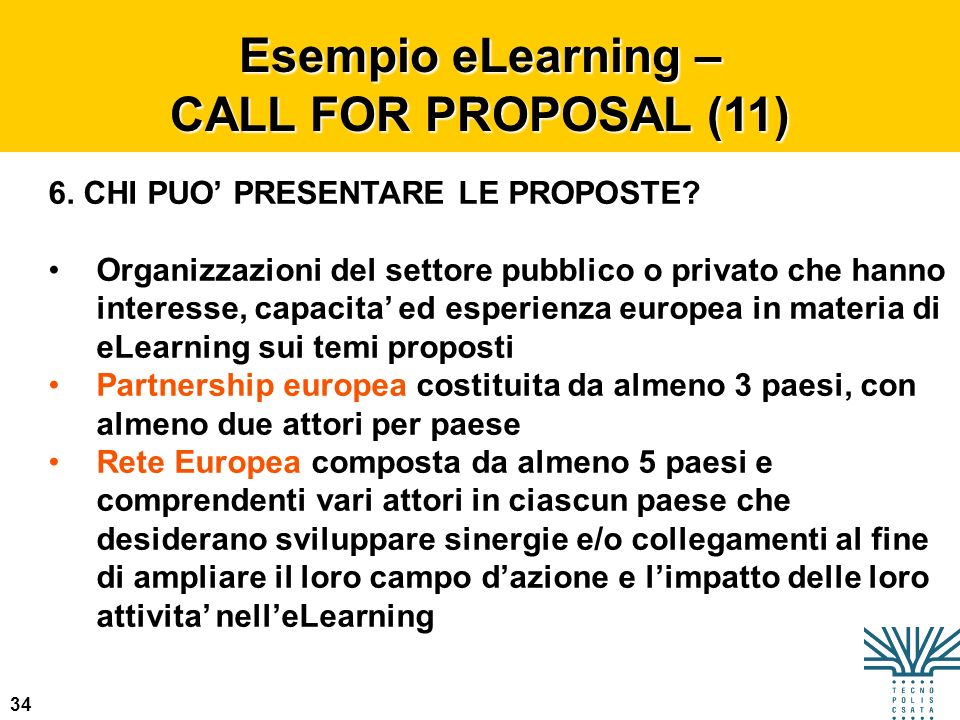 Esempio eLearning – CALL FOR PROPOSAL (11)