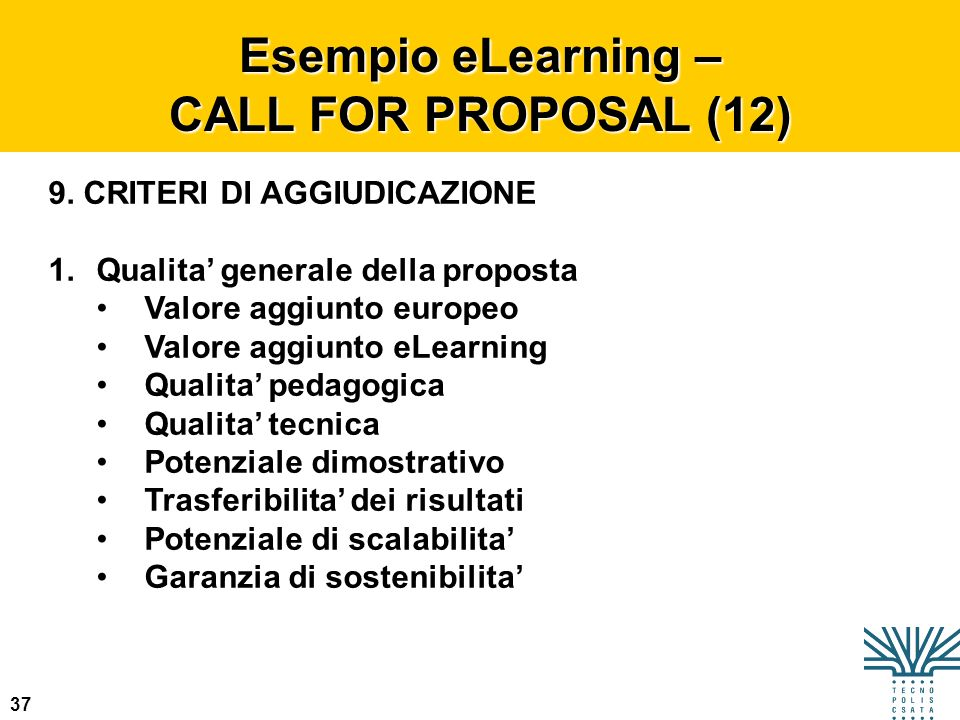 Esempio eLearning – CALL FOR PROPOSAL (12)