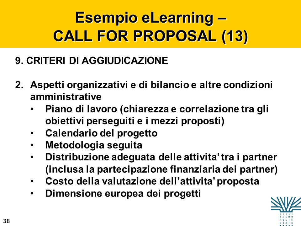 Esempio eLearning – CALL FOR PROPOSAL (13)