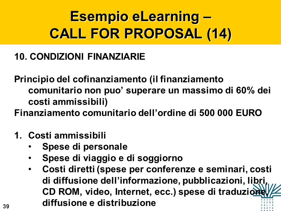 Esempio eLearning – CALL FOR PROPOSAL (14)
