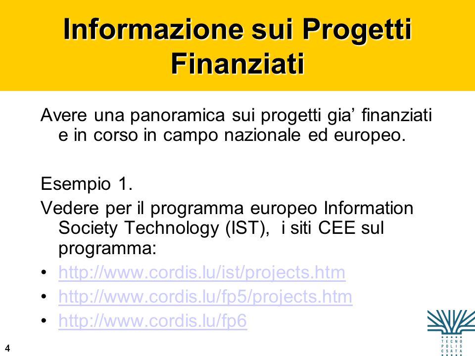 Informazione sui Progetti Finanziati
