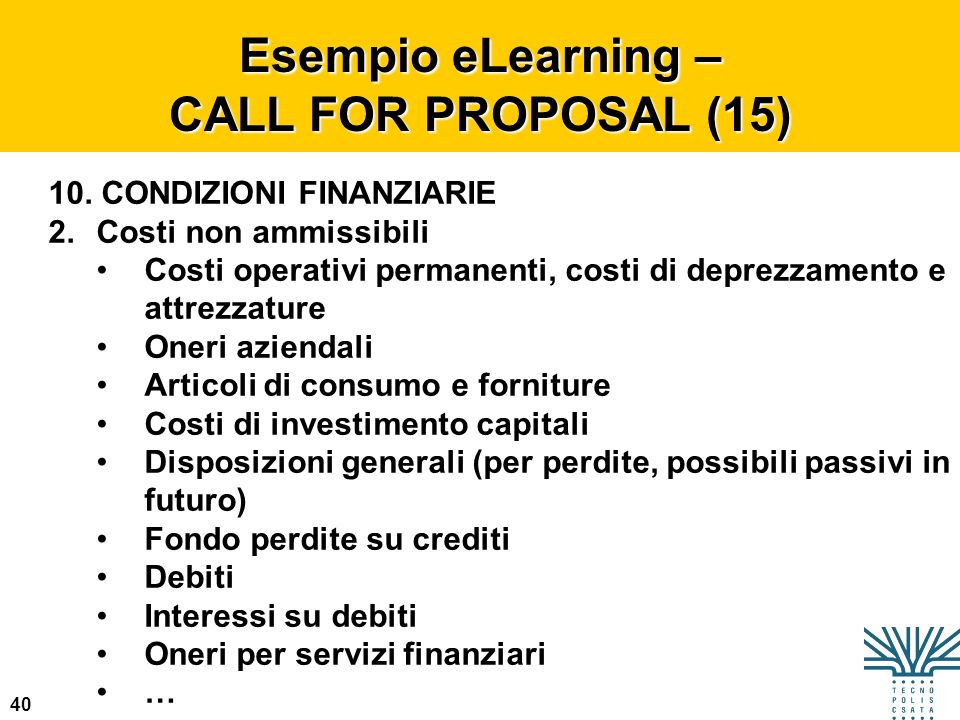 Esempio eLearning – CALL FOR PROPOSAL (15)