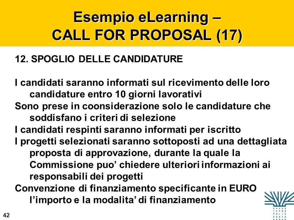 Esempio eLearning – CALL FOR PROPOSAL (17)