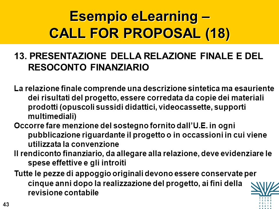 Esempio eLearning – CALL FOR PROPOSAL (18)