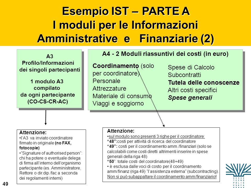 I moduli per le Informazioni Amministrative e Finanziarie (2)