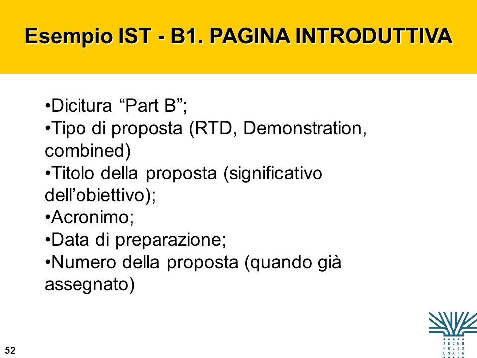 Esempio IST - B1. PAGINA INTRODUTTIVA
