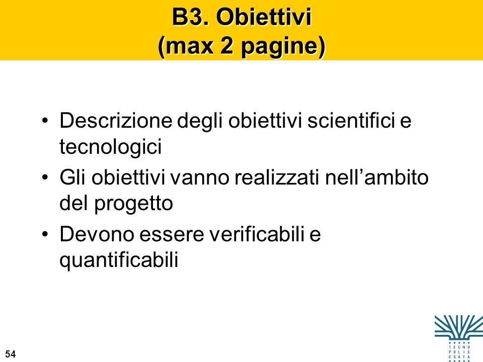 B3. Obiettivi (max 2 pagine)