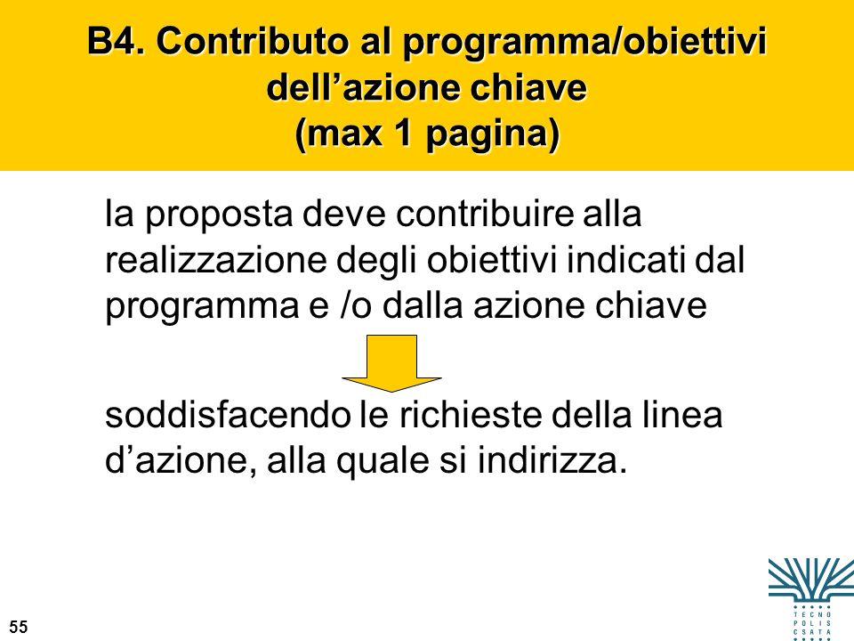 B4. Contributo al programma/obiettivi dell'azione chiave (max 1 pagina)