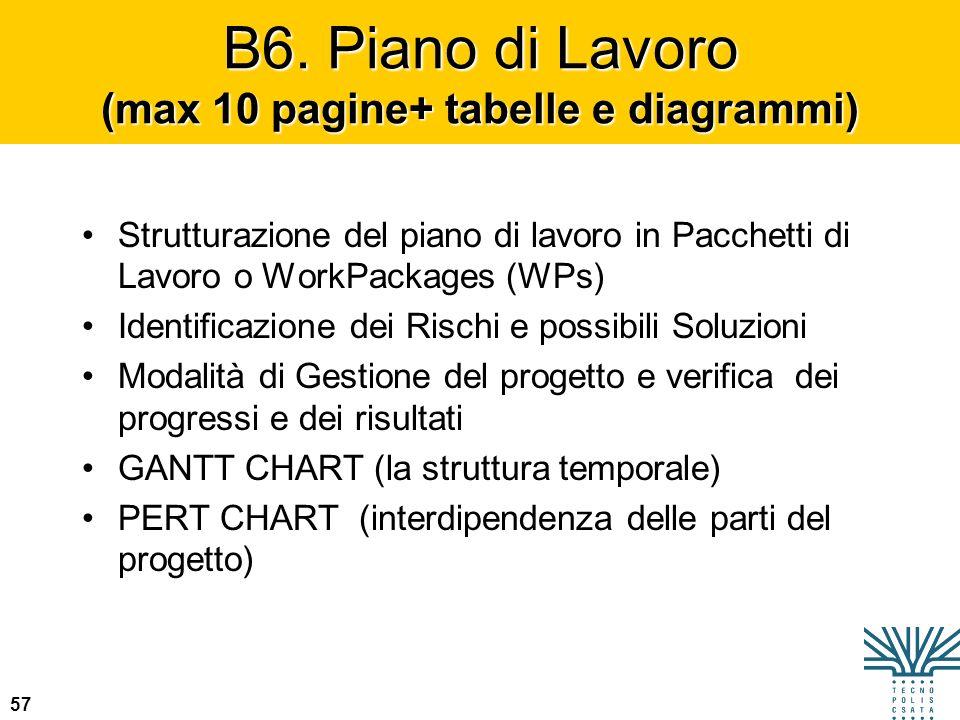 B6. Piano di Lavoro (max 10 pagine+ tabelle e diagrammi)