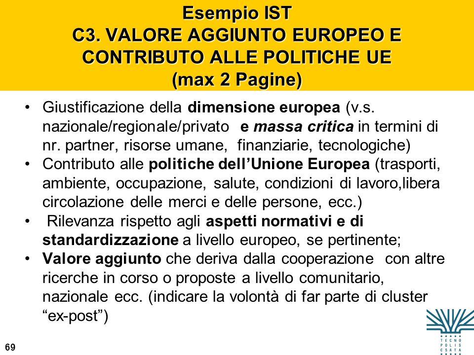 Esempio IST C3. VALORE AGGIUNTO EUROPEO E CONTRIBUTO ALLE POLITICHE UE (max 2 Pagine)