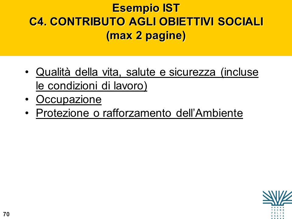 Esempio IST C4. CONTRIBUTO AGLI OBIETTIVI SOCIALI (max 2 pagine)