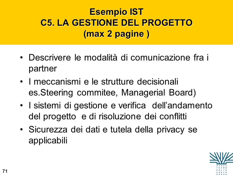 Esempio IST C5. LA GESTIONE DEL PROGETTO (max 2 pagine )