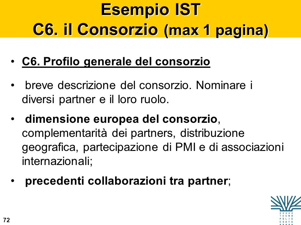 Esempio IST C6. il Consorzio (max 1 pagina)