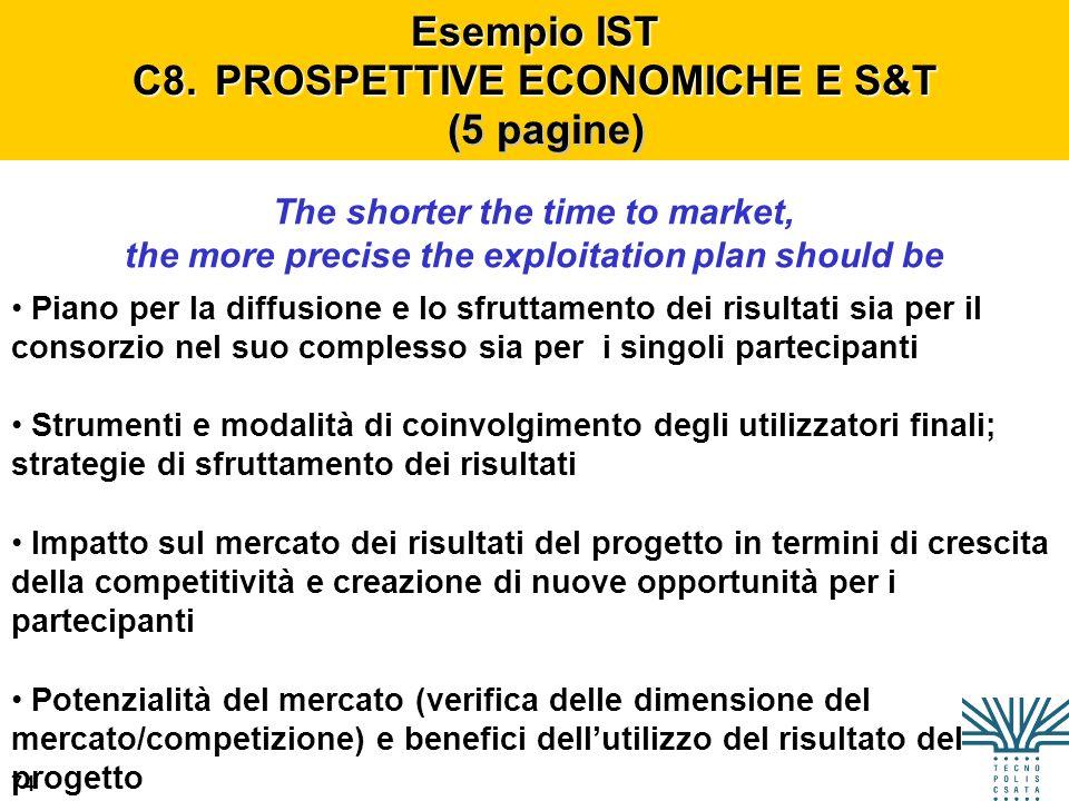 Esempio IST C8. PROSPETTIVE ECONOMICHE E S&T