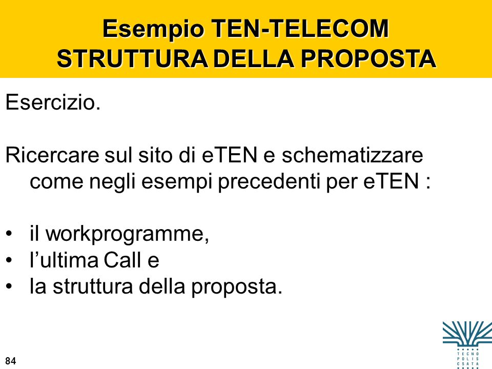 Esempio TEN-TELECOM STRUTTURA DELLA PROPOSTA