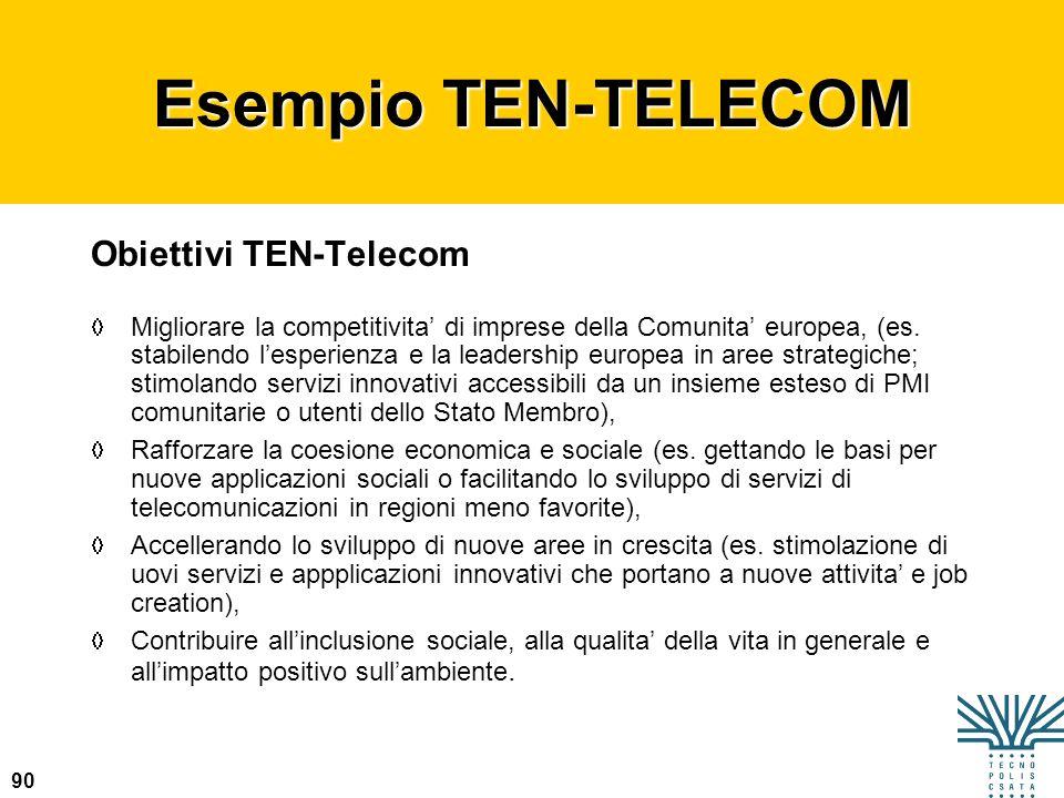 Esempio TEN-TELECOM Obiettivi TEN-Telecom