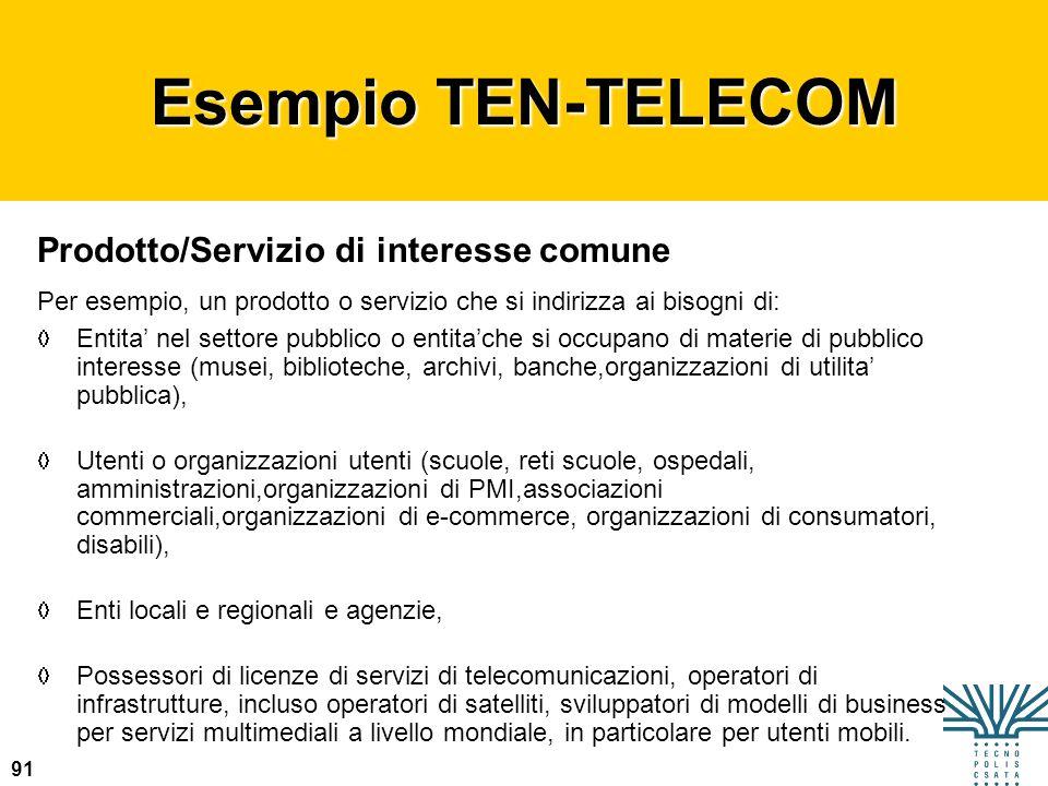 Esempio TEN-TELECOM Prodotto/Servizio di interesse comune