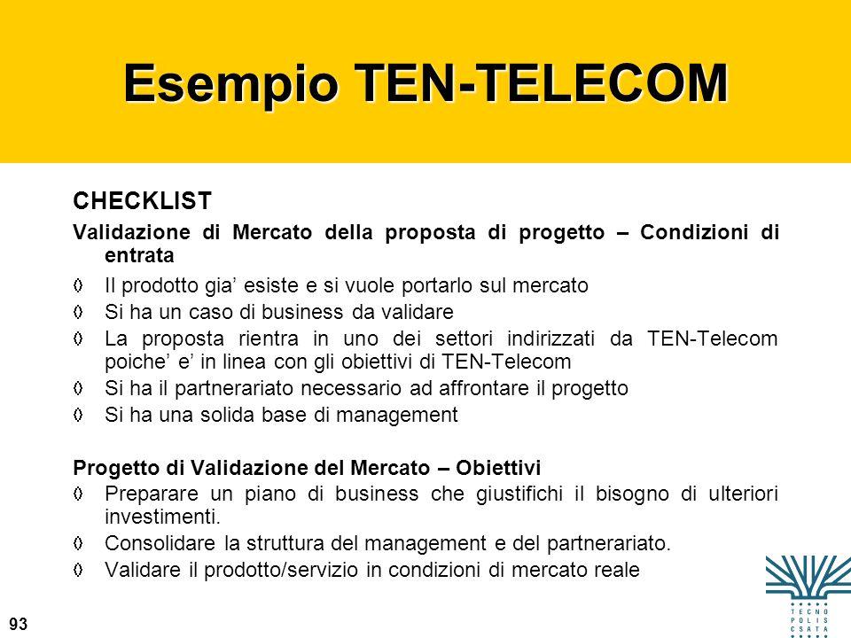 Esempio TEN-TELECOM CHECKLIST