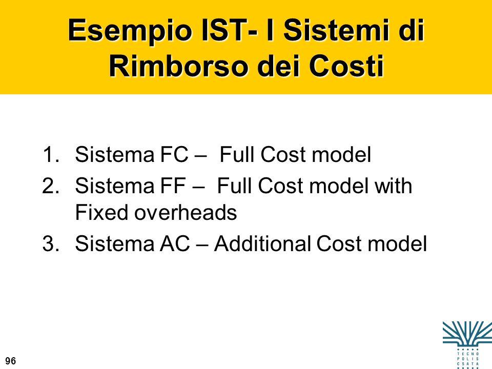 Esempio IST- I Sistemi di Rimborso dei Costi