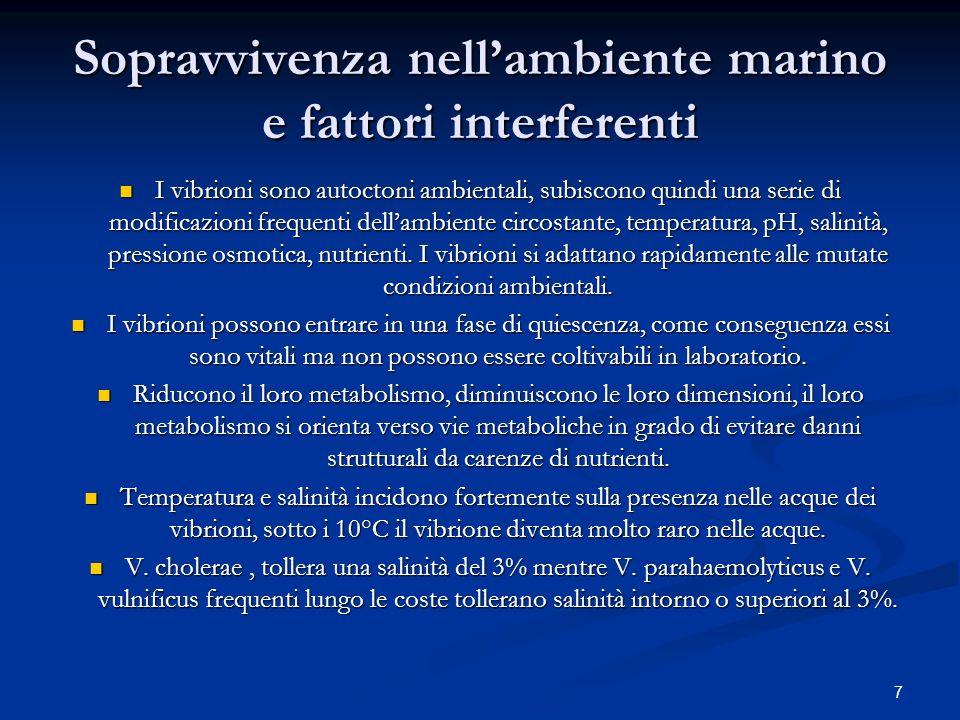 Sopravvivenza nell'ambiente marino e fattori interferenti