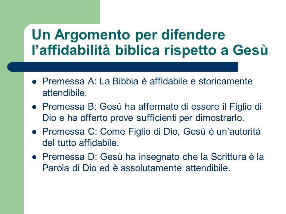 Un Argomento per difendere l'affidabilità biblica rispetto a Gesù