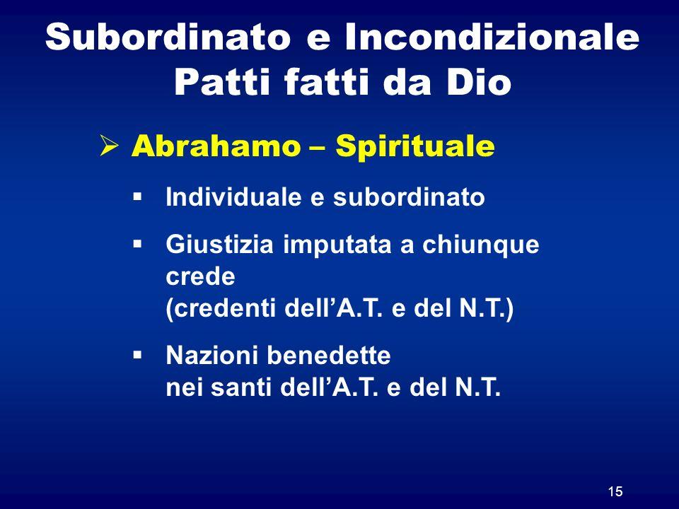 Subordinato e Incondizionale Patti fatti da Dio