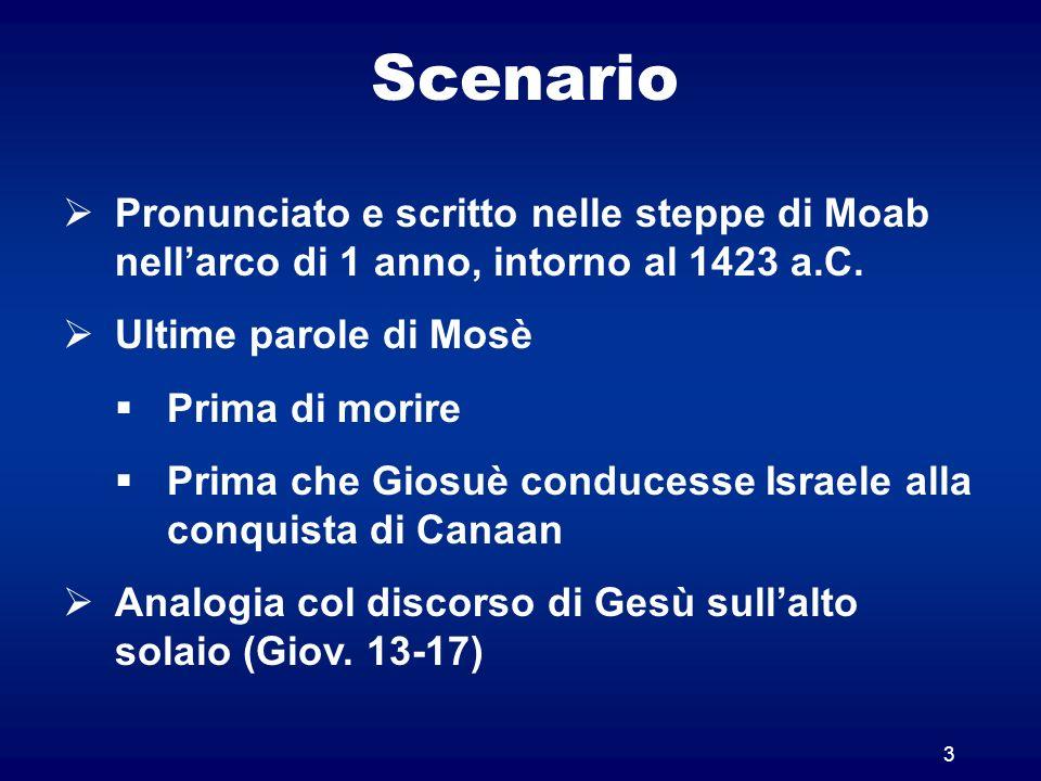 Scenario Pronunciato e scritto nelle steppe di Moab nell'arco di 1 anno, intorno al 1423 a.C. Ultime parole di Mosè.