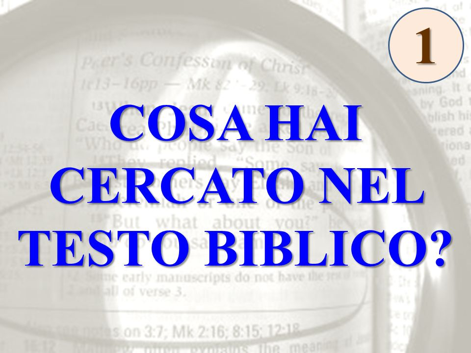 COSA HAI CERCATO NEL TESTO BIBLICO