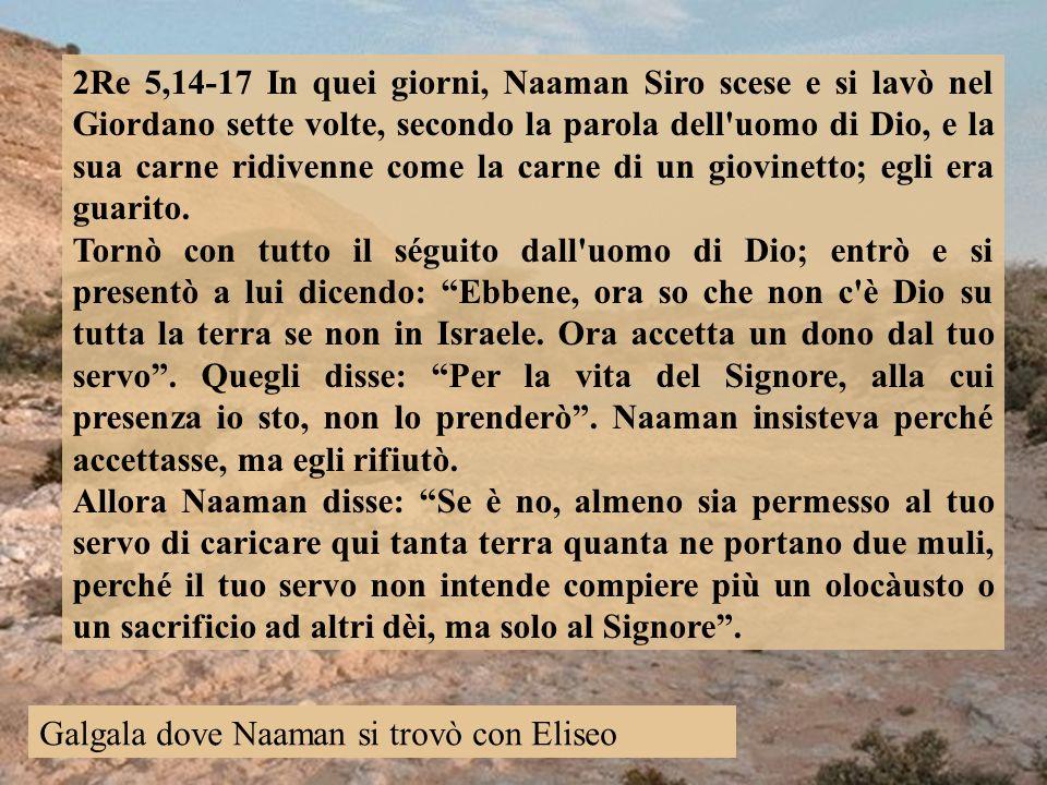 2Re 5,14-17 In quei giorni, Naaman Siro scese e si lavò nel Giordano sette volte, secondo la parola dell uomo di Dio, e la sua carne ridivenne come la carne di un giovinetto; egli era guarito.