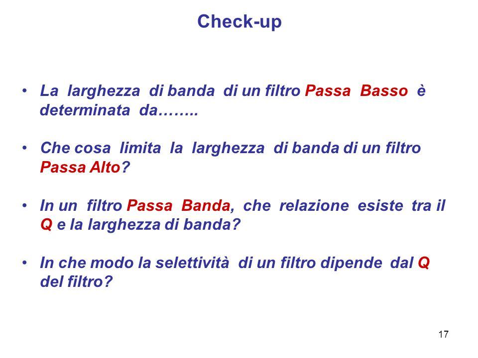 Check-up La larghezza di banda di un filtro Passa Basso è