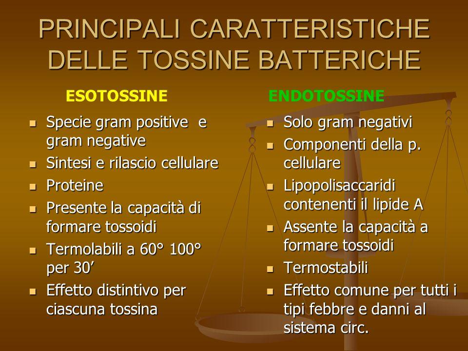 PRINCIPALI CARATTERISTICHE DELLE TOSSINE BATTERICHE