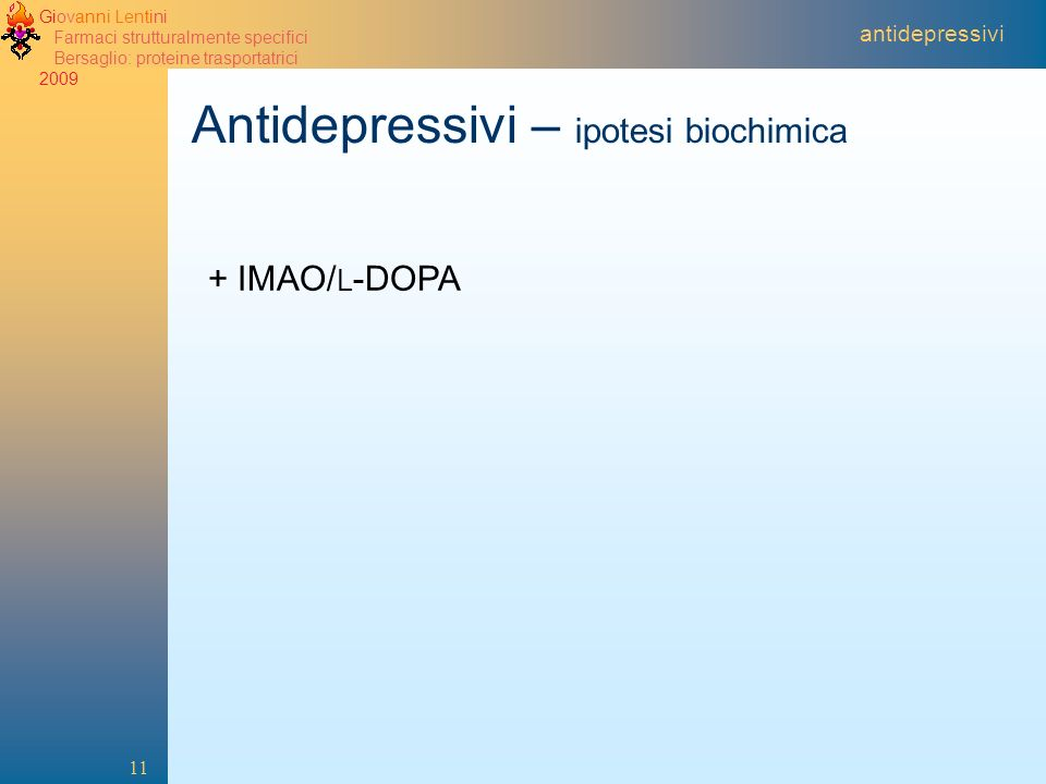 Antidepressivi – ipotesi biochimica