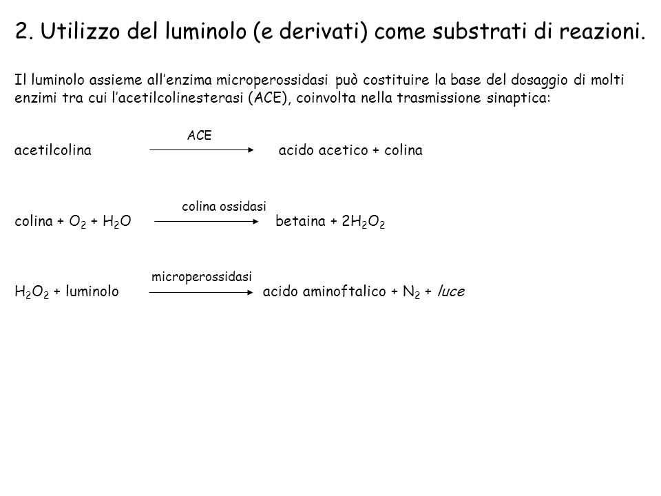 2. Utilizzo del luminolo (e derivati) come substrati di reazioni.