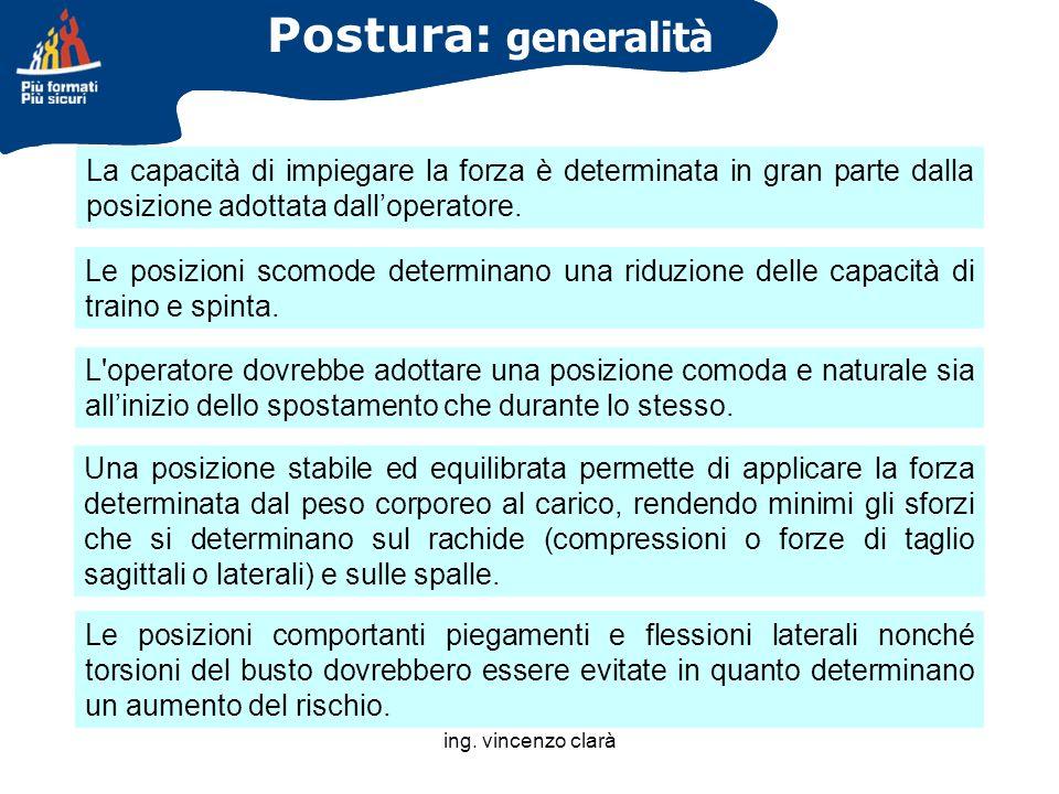 Postura: generalità La capacità di impiegare la forza è determinata in gran parte dalla posizione adottata dall'operatore.