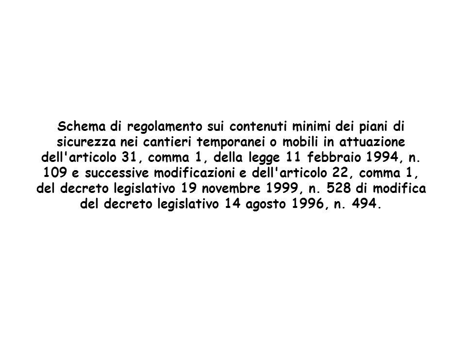 Schema di regolamento sui contenuti minimi dei piani di sicurezza nei cantieri temporanei o mobili in attuazione dell articolo 31, comma 1, della legge 11 febbraio 1994, n.
