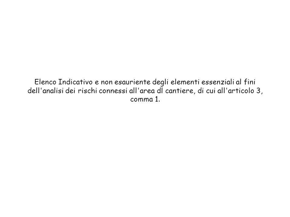 Elenco Indicativo e non esauriente degli elementi essenziali al fini dell analisi dei rischi connessi all area dl cantiere, di cui all articolo 3, comma 1.