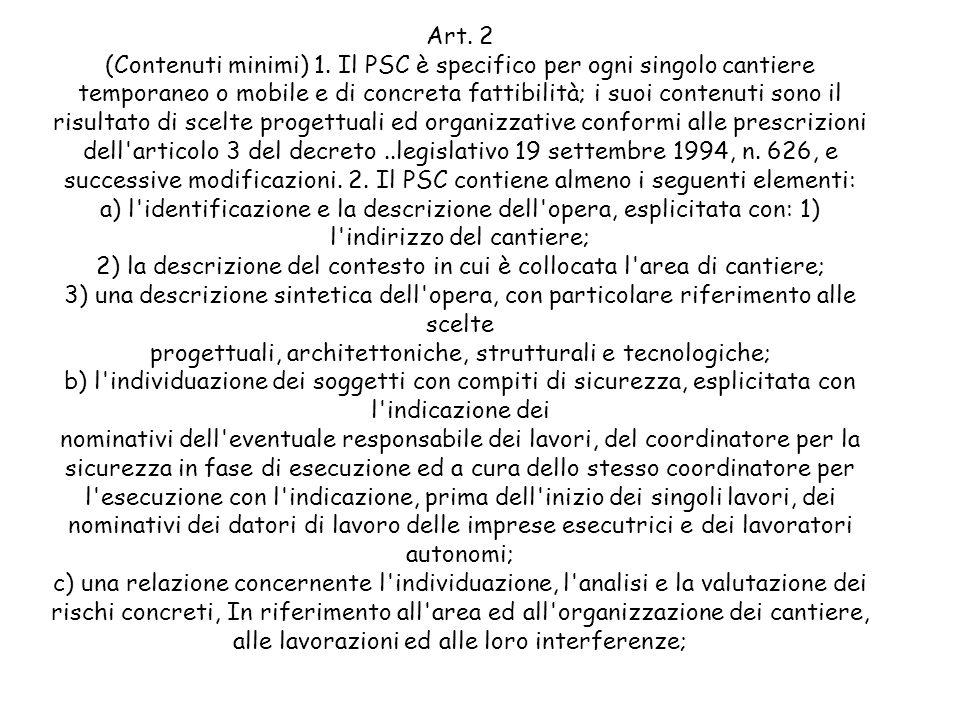 Art. 2 (Contenuti minimi) 1