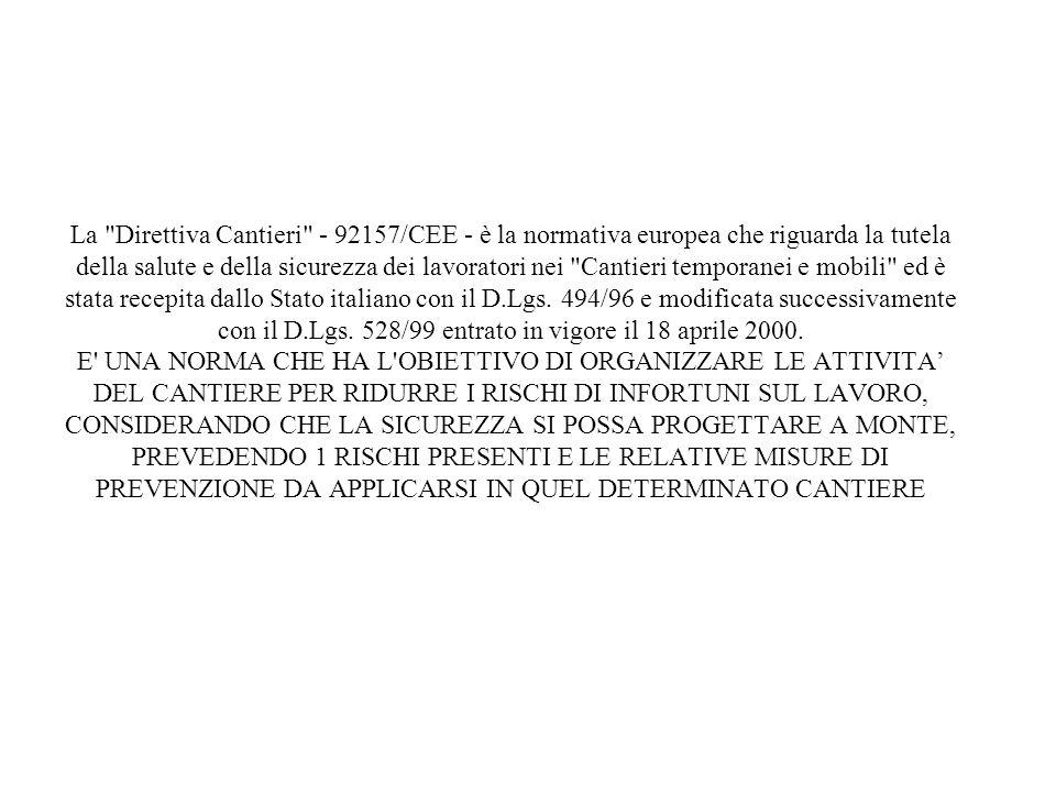 La Direttiva Cantieri - 92157/CEE - è la normativa europea che riguarda la tutela della salute e della sicurezza dei lavoratori nei Cantieri temporanei e mobili ed è stata recepita dallo Stato italiano con il D.Lgs.