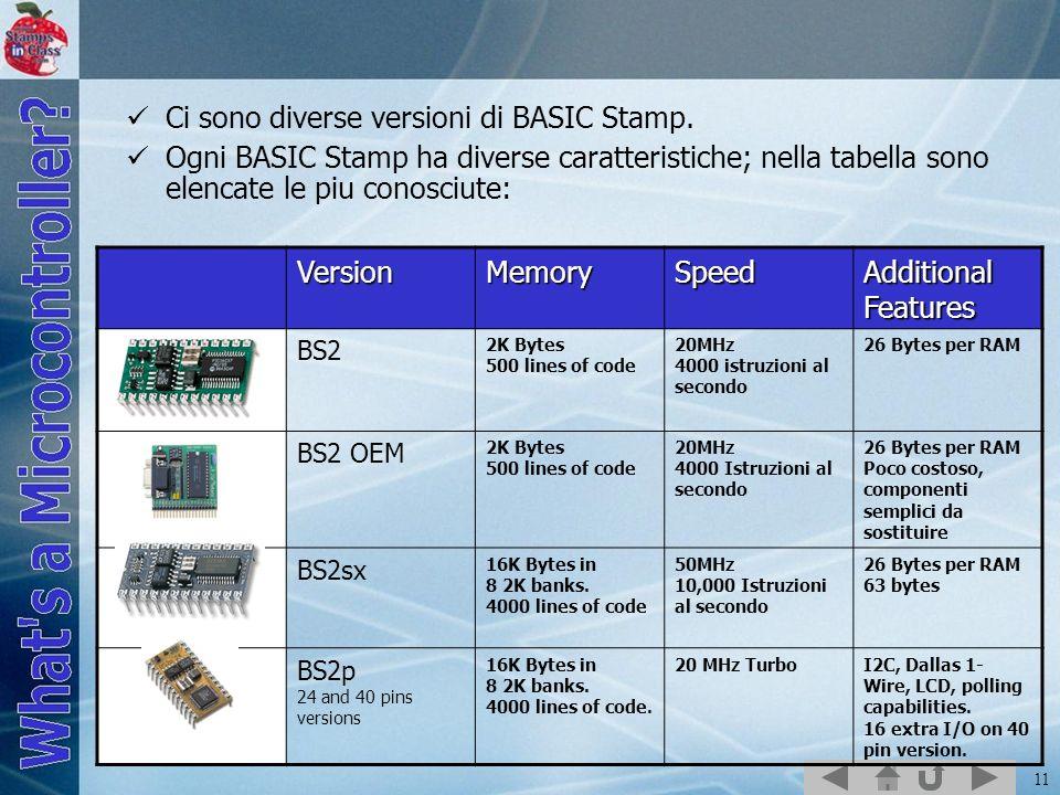 Ci sono diverse versioni di BASIC Stamp.