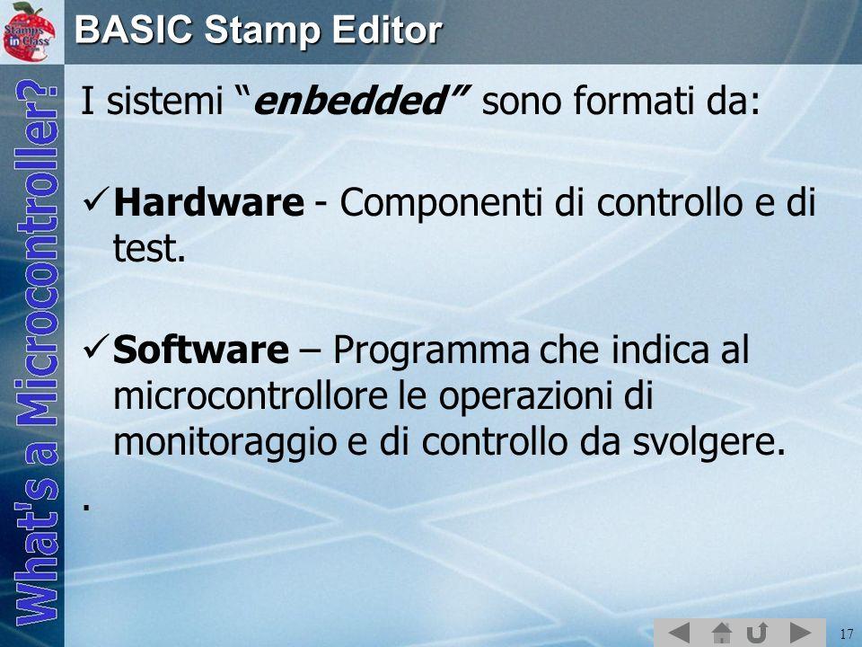 BASIC Stamp Editor I sistemi enbedded sono formati da: Hardware - Componenti di controllo e di test.
