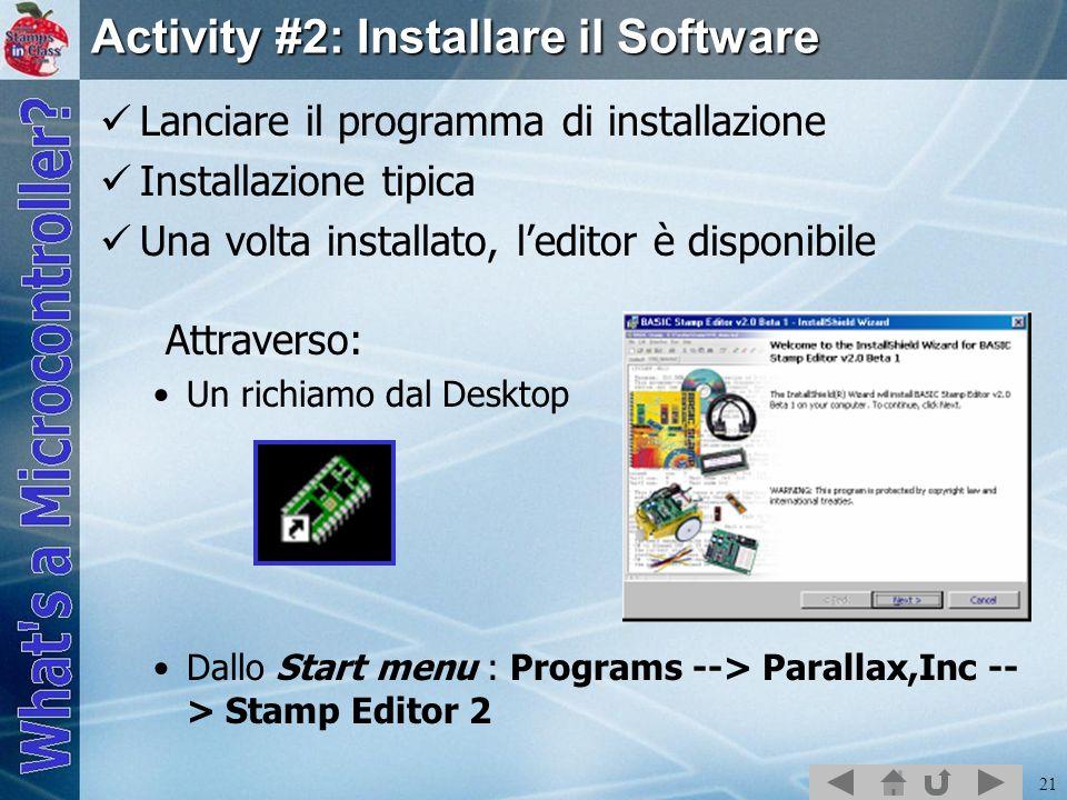 Activity #2: Installare il Software
