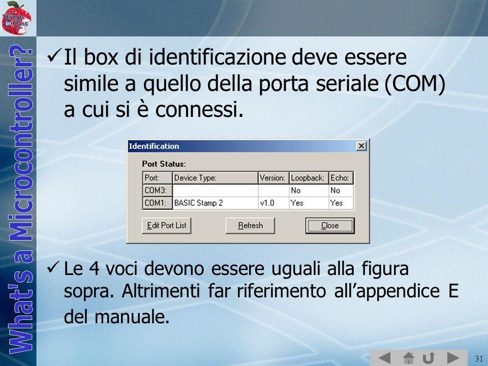 Il box di identificazione deve essere simile a quello della porta seriale (COM) a cui si è connessi.