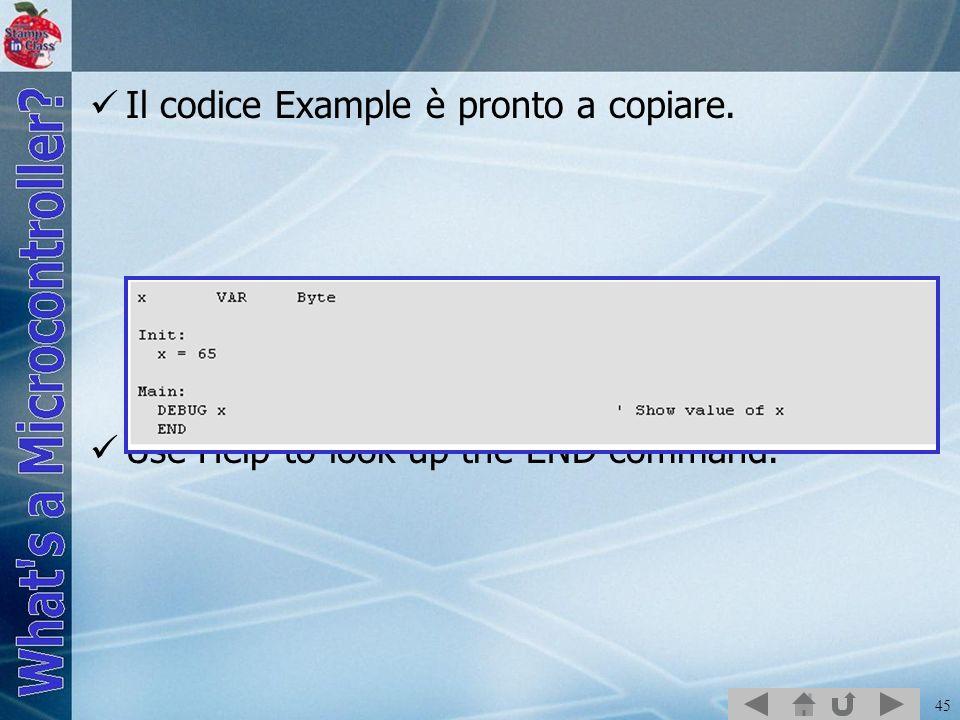 Il codice Example è pronto a copiare.