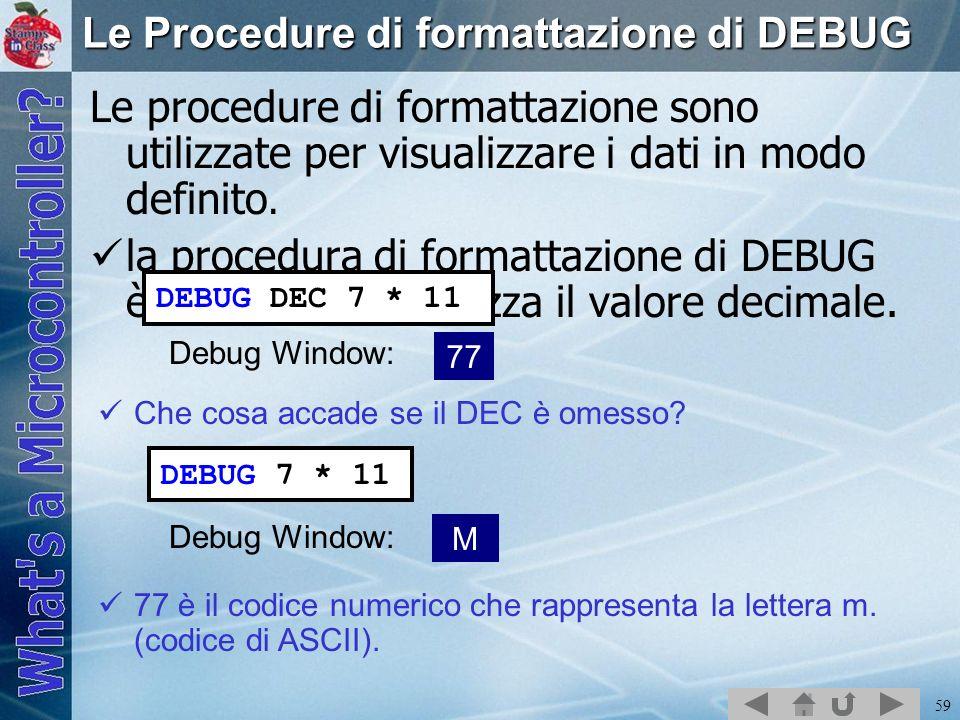 Le Procedure di formattazione di DEBUG