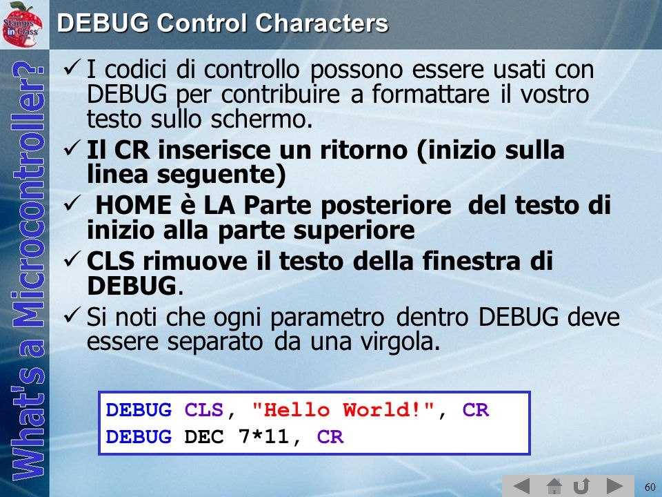DEBUG Control Characters