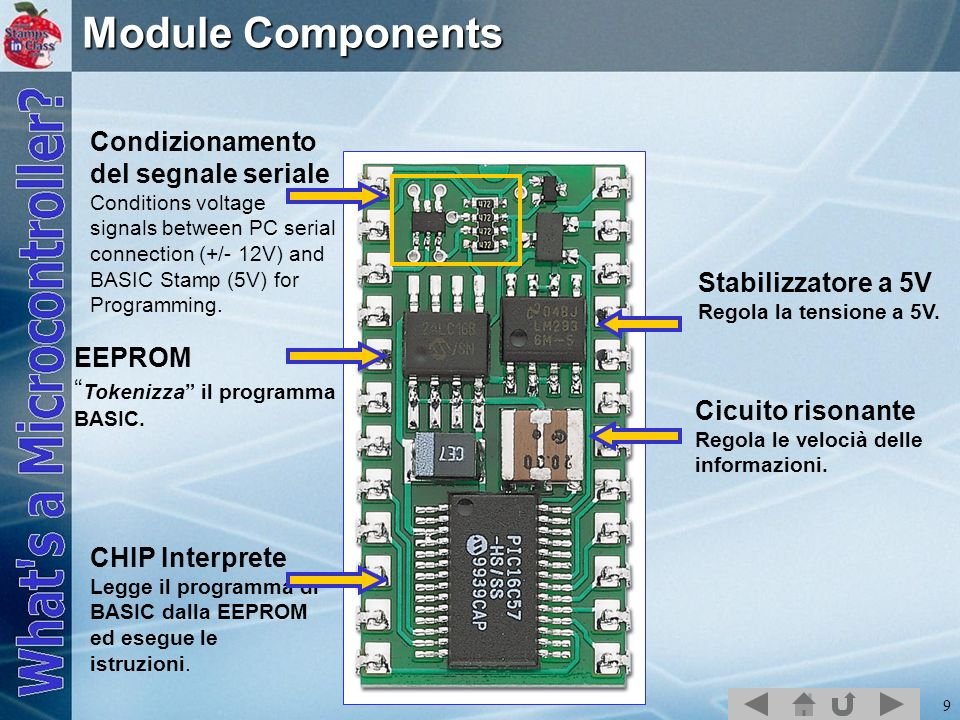 Module Components Condizionamento del segnale seriale Conditions voltage signals between PC serial connection (+/- 12V) and BASIC Stamp (5V) for.