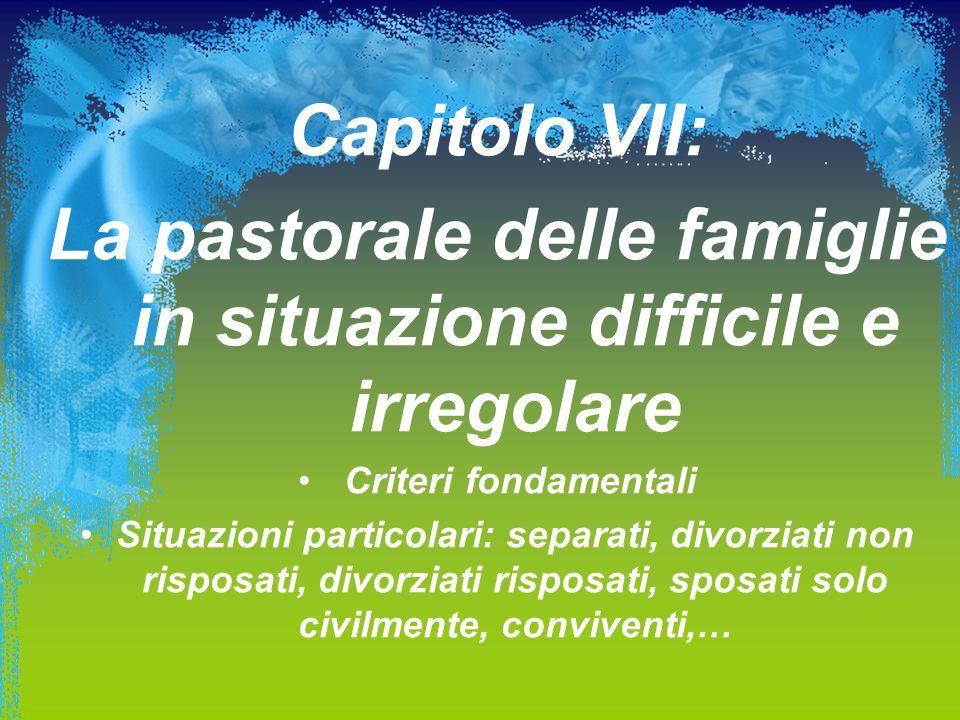 La pastorale delle famiglie in situazione difficile e irregolare