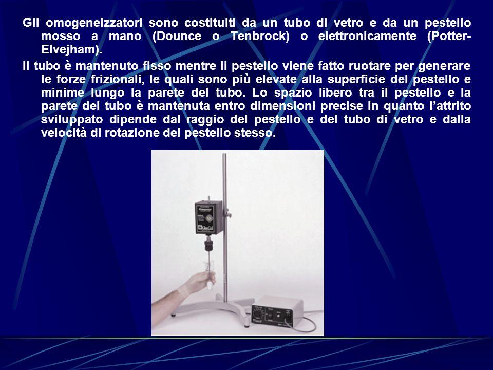 Gli omogeneizzatori sono costituiti da un tubo di vetro e da un pestello mosso a mano (Dounce o Tenbrock) o elettronicamente (Potter-Elvejham).