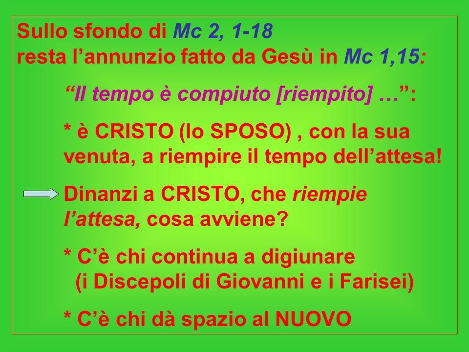Sullo sfondo di Mc 2, 1-18 resta l'annunzio fatto da Gesù in Mc 1,15: