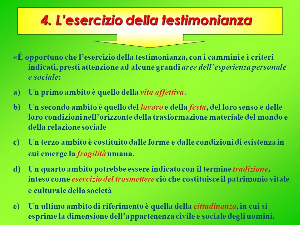 4. L'esercizio della testimonianza